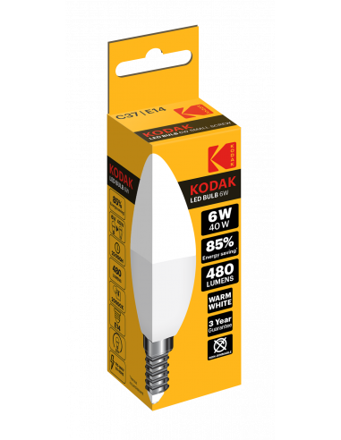 Kodak LED 6W (40W) E14 soe valge C37...