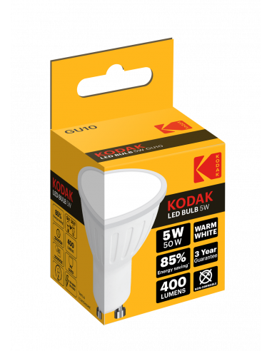 Kodak LED 5W (50W) GU10 soe valge 400lm